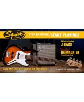 Fender Squier Affinity Jazz Bass Brown Sunburst 2015 Rumble 15