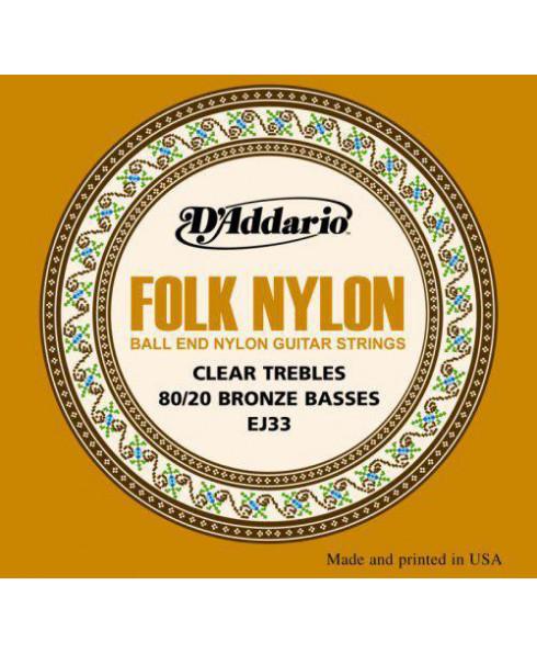 Daddario EJ33 Folk Nylon Ball End